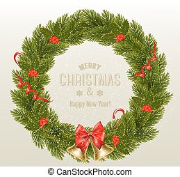 Gift card with Christmas Wreath and Bow. Vector illustration.