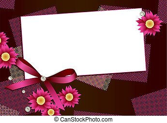 Gift card with flowers,diamonds an