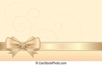 Gift card with golden ribbon and bow. - Gift card with...
