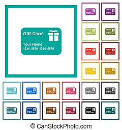 Gift card with name and numbers flat color icons with...