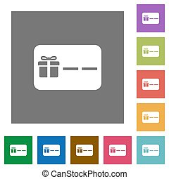 Gift card with placeholder square flat icons - Gift card...