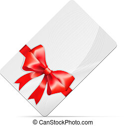 Gift card with red bow Isolated on white. Vector...