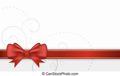 Gift card with red ribbon and bow.