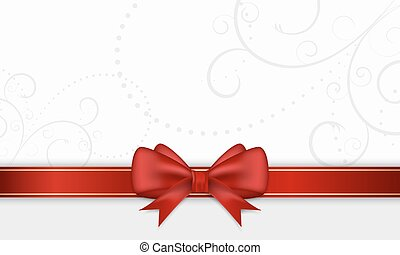 Gift card with red ribbon and bow. - Gift card with red...