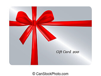 gift card with ribbon. vector