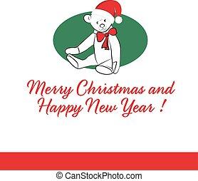 Gift Card with Teddy Bear Merry Christmas