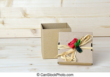 Gift cardboard box with paper rose