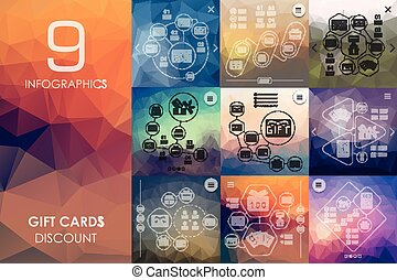 gift cards infographic with unfocused background