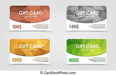 Gift cards polygonal background