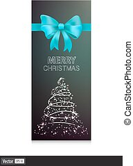 Gift cards with blue bow and christmas tree. Vector illustration