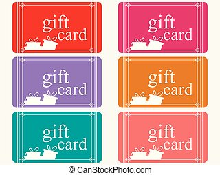 Gift cards with boxes in a flat style, set. Vector illustration