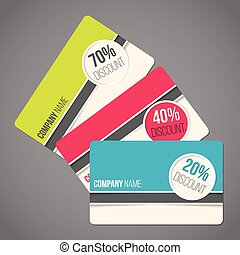 Gift card set with various colors and discounts