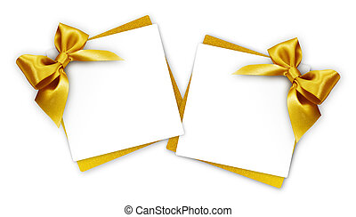 gift cards with golden ribbon bow Isolated on white background