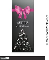 Gift cards with pink bow and christmas tree. Vector illustration
