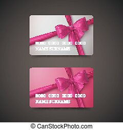 Gift Cards With Pink Bow And Ribbon.
