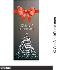 Gift cards with red bow and christmas tree. Vector illustration