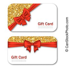 Gift Cards with Red Bow Ribbon and Golden Sparkles