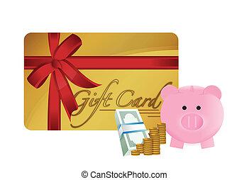 gift cart savings illustration design