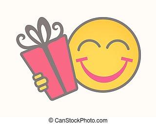 Gift - Cartoon Smiley Vector Face