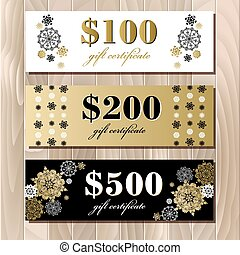 Gift certificate card template with golden snowflakes design.