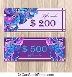 Gift certificate card template with peacock feathers design.