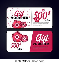 Gift certificate, Coupon template. - Gift Voucher Card Set...
