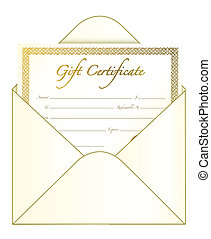 Gift Certificate - Gift certificate in an envelope. vector...
