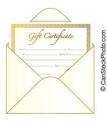 Gift Certificate - Gift certificate in an envelope. vector...