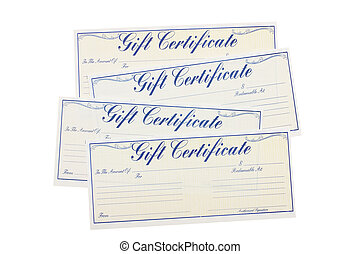 Gift Certificate - Four gift certificates isolated on a...