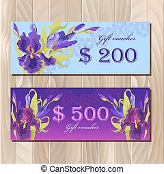 Gift certificate printable card template with purple iris flower design.