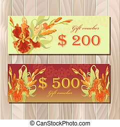Gift certificate printable card template with red iris flower design.