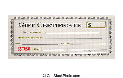 Gift Certificate - Isolated Gift Certificate