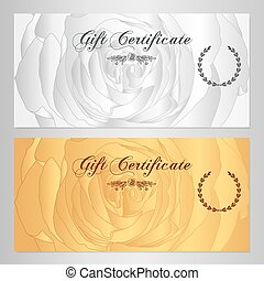 Gift certificate, Voucher, Coupon, Reward / Floral card...
