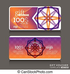 Gift certificate voucher coupon template with colorful...