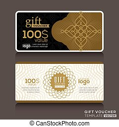 Gift certificate voucher coupon template with gold guilloche...