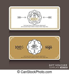 Gift certificate voucher coupon template with line art...