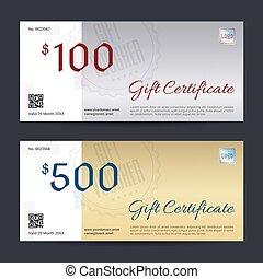 Gift certificate, voucher, coupon template in vector format