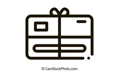 Gift Certificate with Bow Icon Animation. black Gift Certificate with Bow animated icon on white background