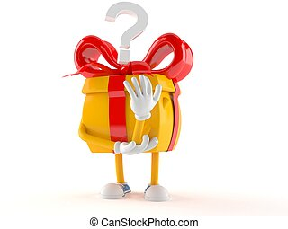 Gift character with question mark