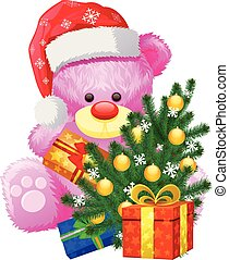 gift christmas pink teddy bear - pink teddy bear with a...