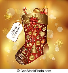 Gift Christmas sock decorated - Vector detailed gift...