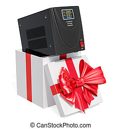 Gift concept, automatic voltage stabilizer inside gift box....