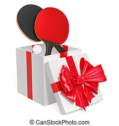 Gift concept, table tennis inside gift box. 3D rendering