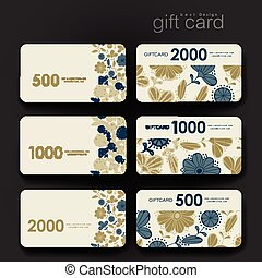 Gift coupon, discount card template with  floral background