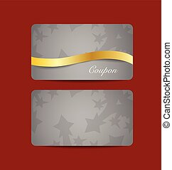 Gift coupon with gold ribbon. Vector illustration.