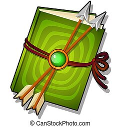 Gift decorated book with arrows isolated on a white background. Vector cartoon close-up illustration.