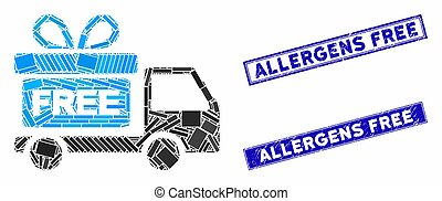 Gift Delivery Car Mosaic and Distress Rectangle Allergens Free Stamps