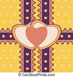 Gift design with two ribbons and double heart-shaped card