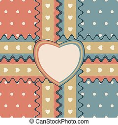 Gift design with two ribbons and heart-shaped greeting card