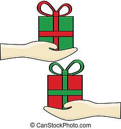Gift exchange - Cartoon illustration of a gift exchange